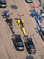 Apr. 28, 2012; Baytown, TX, USA: Aerial view of NHRA top fuel dragster drivers (left to right) Brandon Bernstein , Spencer Massey and T.J. Zizzo during qualifying for the Spring Nationals at Royal Purple Raceway. Mandatory Credit: Mark J. Rebilas-