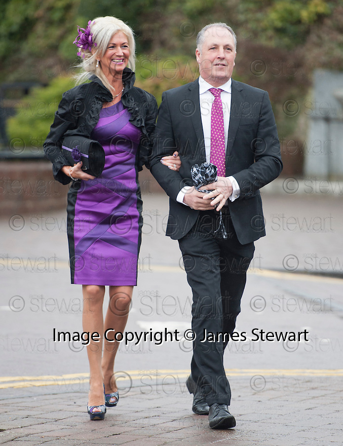 Unidentified guests arrive at the Brig O'Doon House Hotel, Alloway, for the wedding of Steven Naismith and Moya Jane Farrell.