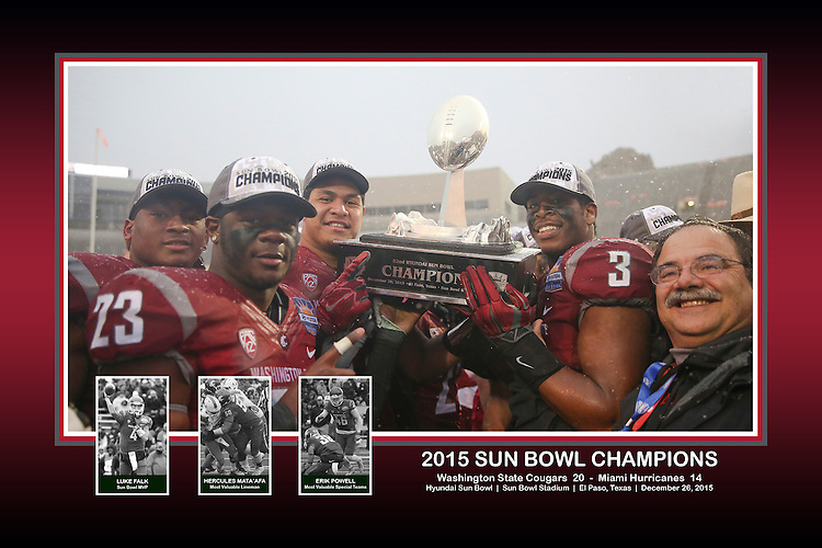 """Jeremiah Allison, Gerard Wicks, Destiny Vaeao, Ivan Mclennan and Dan Bernardo pose with the Sun Bowl Champlons trophy, with inset photos of the game MVP (Luke Falk), most valuable lineman (Hercules Mata'afa) and the most valuable special teams player (Erik Powell), in a commemorative photo from The Cougars big victory over the Miami Hurricanes in the Hyundai Sun Bowl game in El Paso, Texas, on December 26, 2015.  This memorabilia piece is processed at 18""""x12"""", and is available as a print, rolled canvas or canvas wrap."""