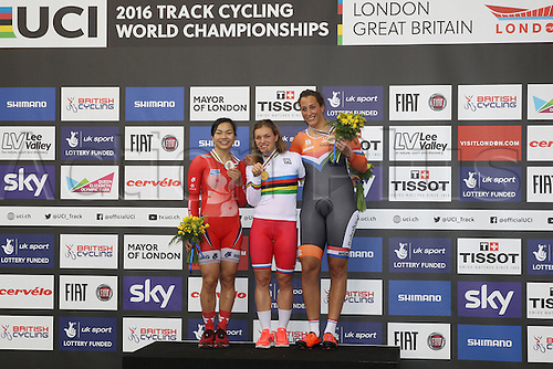 04.03.2016. Lee valley Velo Centre. London England. UCI Track Cycling World Championships Womens 500m time trial.  Podium : LEE Wai Sze (HKG) silver VOINOVA Anastasiia (RUS) gold and LIGTLEE Elis (NED) bronze