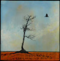 Blue sky encaustic painting with mixed media photography of bird and bare tree