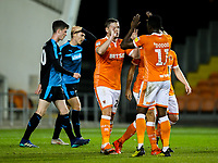 Blackpool's Steve Davies celebrates scoring his side's first goal with teammate Joe Dodoo<br /> <br /> Photographer Alex Dodd/CameraSport<br /> <br /> The EFL Checkatrade Trophy Northern Group C - Blackpool v West Bromwich Albion U21 - Tuesday 9th October 2018 - Bloomfield Road - Blackpool<br />  <br /> World Copyright &copy; 2018 CameraSport. All rights reserved. 43 Linden Ave. Countesthorpe. Leicester. England. LE8 5PG - Tel: +44 (0) 116 277 4147 - admin@camerasport.com - www.camerasport.com