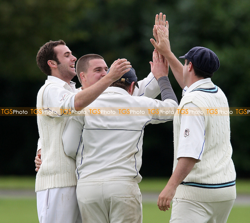 Hornchurch Ath players celebrate the wicket of A Wallcott - Hornchurch Athletic CC vs Leyton County CC - Lords International Cricket League at Hylands Park - 12/07/08 - MANDATORY CREDIT: Gavin Ellis/TGSPHOTO - Self billing applies where appropriate - Tel: 0845 094 6026.