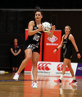 28.10.2014 Silver Ferns Joline Henry in action during the Silver Ferns V England netball match played at the Rotorua Events Centre in Rotorua. Mandatory Photo Credit ©Michael Bradley.