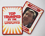 "© Joel Goodman - 07973 332324 . No syndication permitted . 29/09/2013 . Manchester , UK . Pack with Joker , Len McCluskey . "" Top Trumped by the Unions "" cards handed out at the Conservative Party Conference . The Conservative Party Conference at Manchester Central . Photo credit : Joel Goodman"