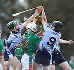 Thep Fitzpatrick of St Fergal's College in action against Michael Hynes and Ronan Hayes of Scariff Community College during their All-Ireland Colleges final at Toomevara. Photograph by John Kelly.