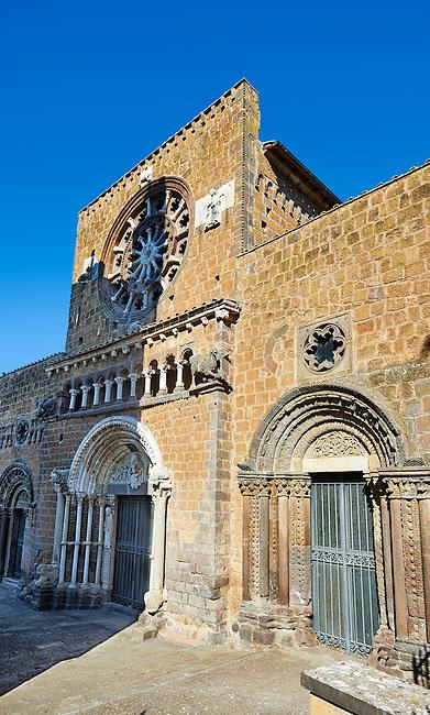 The 13th century Facade of the 9th century Romanesque Basilica Church of Santa Maria Maggiore, Tuscania