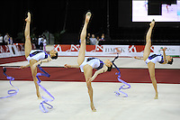 Senior group from Bulgaria performs ropes + ribbons routine at 2009 Budapest World Cup on March 7, 2009 at Budapest, Hungary.  Photo by Tom Theobald.