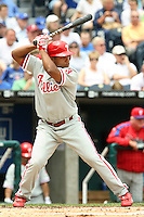 Philadelphia Phillies second baseman Abraham Nunez bats against the Royals at Kauffman Stadium in Kansas City, Missouri on June 10, 2007.  The Royals won 17-5.