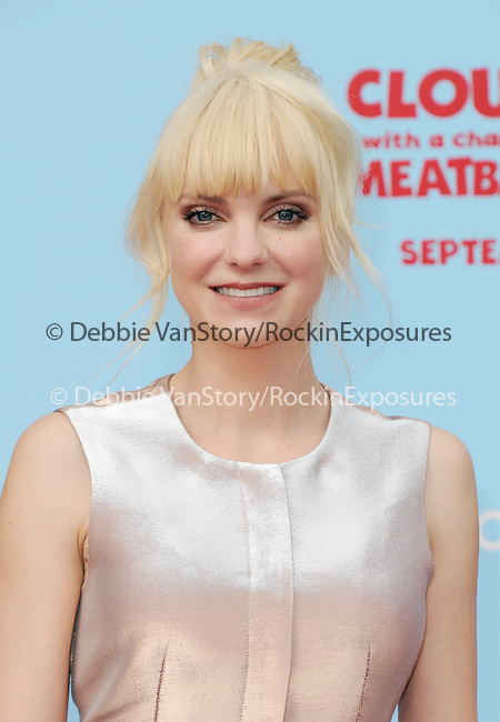 "Anna Faris  at Sony Pictures Animation Los Angeles Premiere Of ""Cloudy With A Chance Of Meatballs 2"" held at The Regency Village Theatre in Westwood, California on September 21,2013                                                                   Copyright 2013 Hollywood Press Agency"