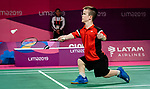 Lima, Peru -  28/August/2019 -  Wyatt Lightfoot competes in badminton at the Parapan Am Games in Lima, Peru. Photo: Dave Holland/Canadian Paralympic Committee.