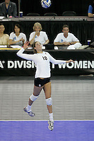 15 December 2007: Stanford Cardinal Alix Klineman during Stanford's 25-30, 26-30, 30-23, 30-19, 8-15 loss against the Penn State Nittany Lions in the 2007 NCAA Division I Women's Volleyball Final Four championship match at ARCO Arena in Sacramento, CA.