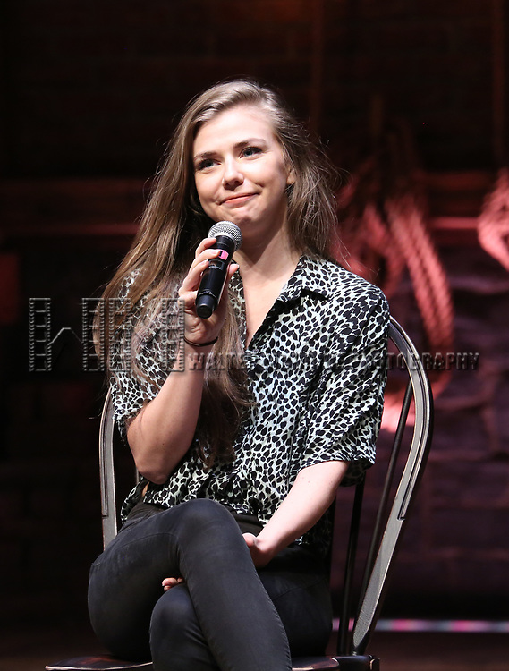"Eliza Ohman from the 'Hamilton' cast during the Q&A before The Rockefeller Foundation and The Gilder Lehrman Institute of American History sponsored High School student #EduHam matinee performance of ""Hamilton"" at the Richard Rodgers Theatre on June 7, 2017 in New York City."