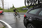 The peloton including Jack Bauer (NZL) Mitchelton-Scott amongst the cars climb over the Appenines and into Tuscany during a wet Stage 2 of the 2019 Giro d'Italia, running 205km from Bologna to Fucecchio, Italy. 12th May 2019.<br /> Picture: Eoin Clarke | Cyclefile<br /> <br /> All photos usage must carry mandatory copyright credit (© Cyclefile | Eoin Clarke)