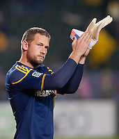CARSON, CA - November 20, 2011: LA Galaxy goalie Josh Saunders (12) before the MLS Cup match between LA Galaxy and Houston Dynamo at the Home Depot Center in Carson, California. Final score LA Galaxy 1, Houston Dynamo 0.