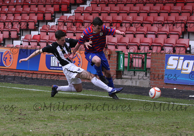 Andy Ritchie tackles Anton Brady in the Dunfermline Athletic v St Mirren Scottish Football Association Youth Cup Semi Final match played at East End Park, Dunfermline on 24.3.13.