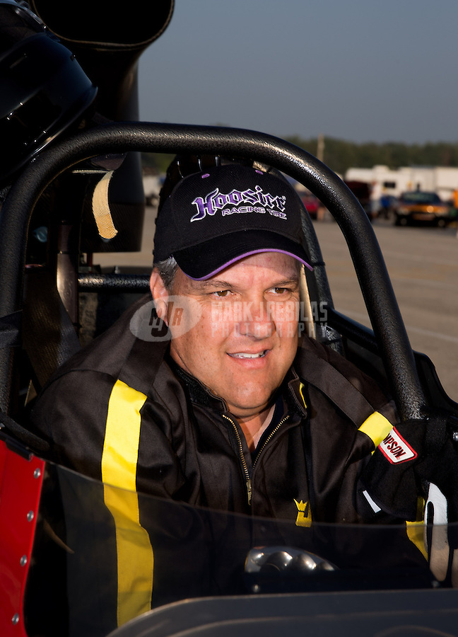 Aug. 30, 2013; Clermont, IN, USA: NHRA super comp driver XXXX during qualifying for the US Nationals at Lucas Oil Raceway. Mandatory Credit: Mark J. Rebilas-