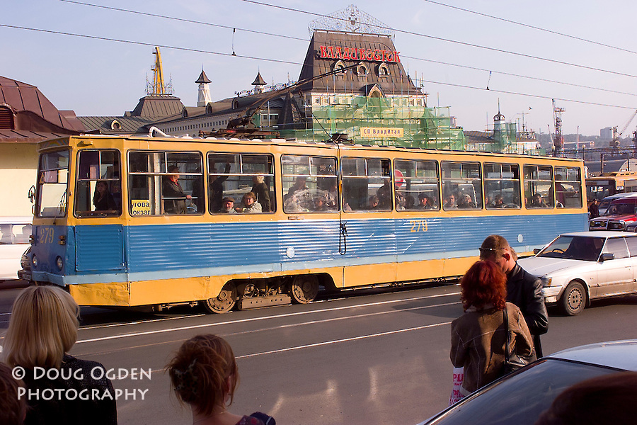 An electric  trolly in front of the train station, Vladivostok, Russia