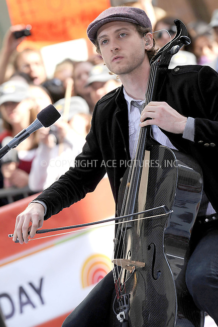 "WWW.ACEPIXS.COM . . . . . ....May 28 2010, New York City....Brent Kutzle of One Republic performing on NBC's ""Today"" show at the Rockefeller Center on May 28, 2010 in New York City.....Please byline: KRISTIN CALLAHAN - ACEPIXS.COM.. . . . . . ..Ace Pictures, Inc:  ..tel: (212) 243 8787 or (646) 769 0430..e-mail: info@acepixs.com..web: http://www.acepixs.com"