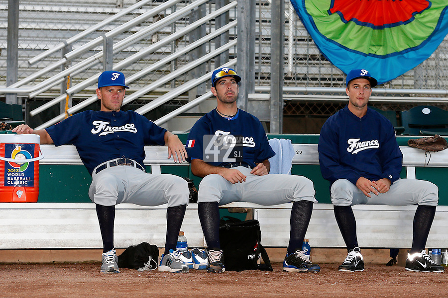 20 September 2012: Owen Ozanich, Pierrick Le Mestre, and Quentin Pourcel are seen prior to Spain 8-0 win over France, at the 2012 World Baseball Classic Qualifier round, in Jupiter, Florida, USA.