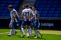 13th June 2020, Barcelona, Spain; La Liga football, RCD Espanyol versus Alaves;  RCD Espanyols Wu Lei  celebrates with teammates after scoring in the 47th minute for 2-0