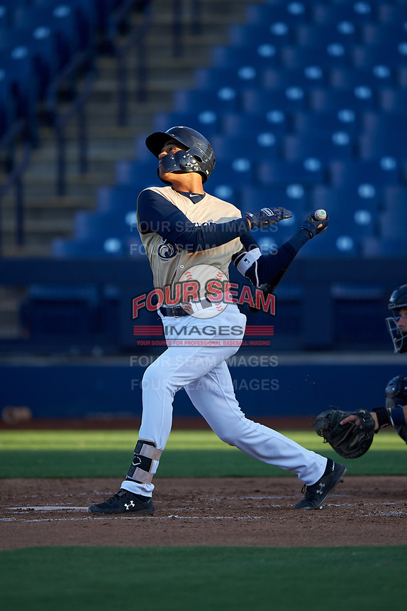 AZL Brewers Gold Victor Maria (27) at bat during an Arizona League game against the AZL Brewers Blue on July 13, 2019 at American Family Fields of Phoenix in Phoenix, Arizona. The AZL Brewers Blue defeated the AZL Brewers Gold 6-0. (Zachary Lucy/Four Seam Images)