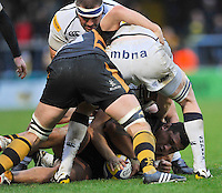 High Wycombe, England. Zak Taulafo of London Wasps under pressure during the Aviva Premiership match between London Wasps and Sale Sharks at Adams Park on December 23. 2012 in High Wycombe, England.