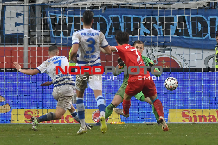 02.12.2018, Schauinsland-Reisen-Arena, Duisburg, GER, 2. FBL, MSV Duisburg vs. Holstein Kiel, DFL regulations prohibit any use of photographs as image sequences and/or quasi-video<br /> <br /> im Bild Jae-sung Lee (#7, Holstein Kiel) macht das Tor zum 0:4<br /> <br /> Foto &copy; nordphoto/Mauelshagen