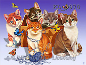 Interlitho, Lorenzo, REALISTIC ANIMALS, paintings, 5 cats, blue wool(KL3970,#A#) realistische Tiere, realista, illustrations, pinturas ,puzzles