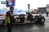 Oct 29, 2016; Las Vegas, NV, USA; Brandon Booher , crew chief for NHRA top alcohol dragster driver Kirk Wolf during qualifying for the Toyota Nationals at The Strip at Las Vegas Motor Speedway. Mandatory Credit: Mark J. Rebilas-USA TODAY Sports