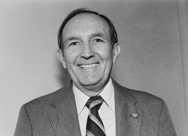 Close-up of Rep. Earl Dewitt Hutto, D-Fla. on Mar. 27, 1983. (Photo by Laura Patterson/CQ Roll Call)