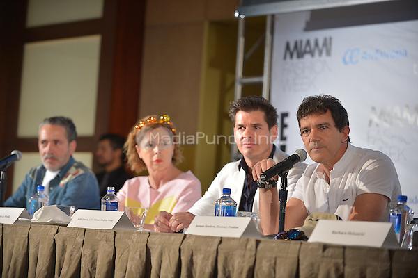 MIAMI, FL - JUNE 01: Demo, Agatha Ruiz de la Prada, Julio Iranzo and Antonio Banderas attends a press conference to announce Miami Fashion Week at Mandarin Oriental on June 1, 2016 in Miami, Florida Credit: MPI10 / MediaPunch