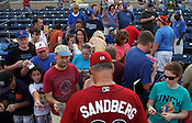 Lehigh Valley IronPigs manager and former Chicago Cubs star Ryne Sandberg signs autographs for a crowd of fans before the Durham Bulls vs. Lehigh Valley baseball game on Thursday, August 4, 2011. Lehigh won 5-3. Photo by Al Drago.