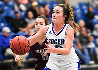 NWA Democrat-Gazette/CHARLIE KAIJO Rogers High School guard Courtney Storey (2) drives the ball, during the Great 8 Tournament, Thursday, November 29, 2018 at King Arena at Rogers High School in Rogers.