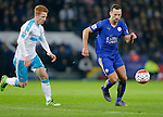 Jack Colback of Newcastle competes with Danny Drinkwater of Leicester City during the Barclays Premier League match at The King Power Stadium.  Photo credit should read: Malcolm Couzens/Sportimage