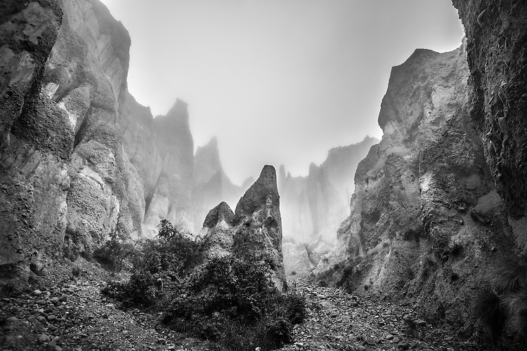 A misty morning creates an eerie mood at the Clay Cliffs near Omarama, South Canterbury, South Island, New Zealand