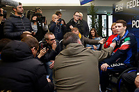 Manuel Bortuzzo speak to press<br /> Rome March 13th 2019. Manuel Bortuzzo, promising swimmer who was shot in front of a nightclub, returns to his swimming pool at Ostia Federal Swimming Centre. The 19 years old guy was shot by mistake in front of a nightclub last February 2nd and is paralysed from the waist down since then. <br /> Foto Samantha Zucchi Deepbluemedia/ Insidefoto