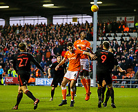 Blackpool's Ben Heneghan and Armand Gnanduillet compete in the air with Sunderland's Charlie Wyke and Lee Cattermole<br /> <br /> Photographer Alex Dodd/CameraSport<br /> <br /> The EFL Sky Bet League One - Blackpool v Sunderland - Tuesday 1st January 2019 - Bloomfield Road - Blackpool<br /> <br /> World Copyright © 2019 CameraSport. All rights reserved. 43 Linden Ave. Countesthorpe. Leicester. England. LE8 5PG - Tel: +44 (0) 116 277 4147 - admin@camerasport.com - www.camerasport.com