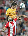 Athletic de Bilbao's Mikel Balenziaga (d) and FC Barcelona's Sergi Roberto during Supercup of Spain 1st match.August 14,2015. (ALTERPHOTOS/Acero)