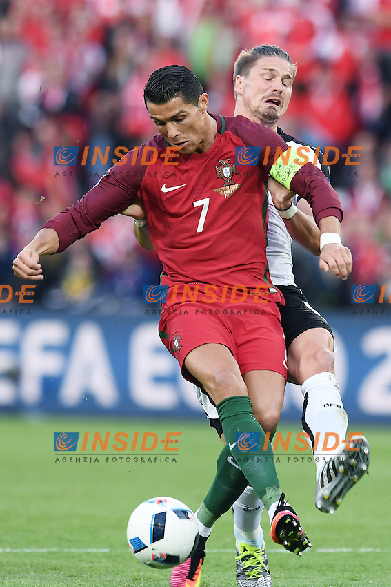 Sebastian Prodl Austria, Cristiano Ronaldo Portugal <br /> Paris 18-06-2016 Parc Des Princes Football Euro2016 Portugal - Austria / Portogallo - Austria Group Stage Group F. Foto Matteo Gribaudi / Image Sport / Insidefoto