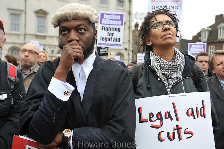 Barristers held a demonstration outside The Houses of Parliament against cuts to legal aid for people who would not be able to afford representation in courts without it.