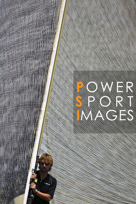 15 May 2006, Valencia, Spain --- America's Cup Challenger Victory Challenge's bowman Nik Pearson of Great Britain looks on during the fifth day of the Valencia Louis Vuitton Act 10 in Valencia, eastern Spain. Photo by Victor Fraile / The Power of Sport Images
