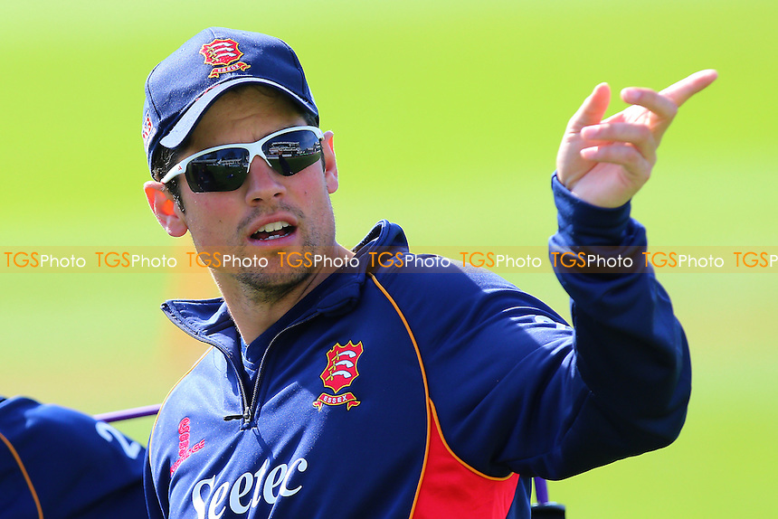 Alastair Cook of Essex points to the dressing room ahead of Essex CCC vs Gloucestershire CCC, Specsavers County Championship Division 2 Cricket at the Essex County Ground on 13th April 2016