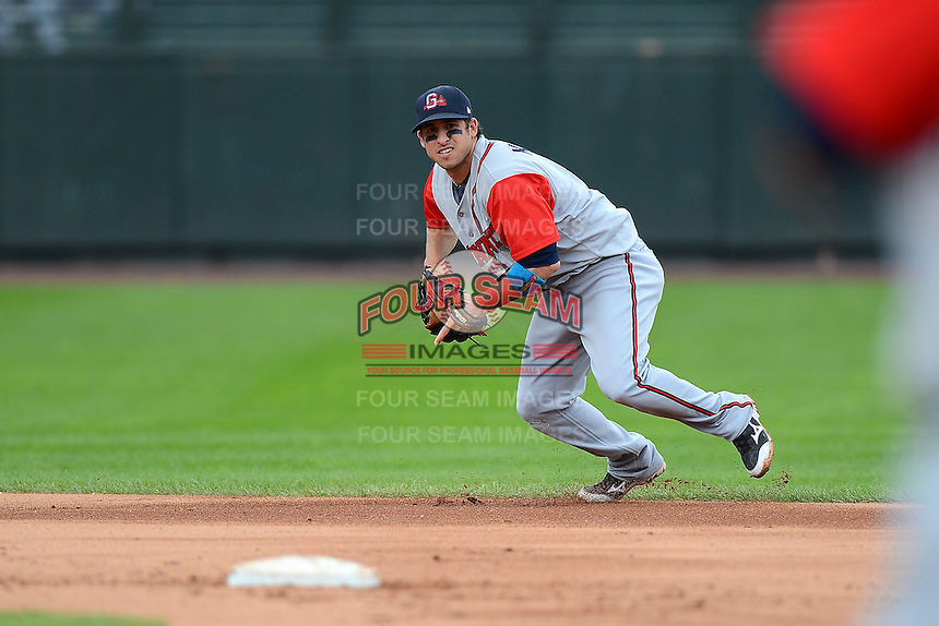Gwinnett Braves shortstop Sean Kazmar #4 during a game against the Rochester Red Wings on June 16, 2013 at Frontier Field in Rochester, New York.  Rochester defeated Gwinnett 6-3.  (Mike Janes/Four Seam Images)