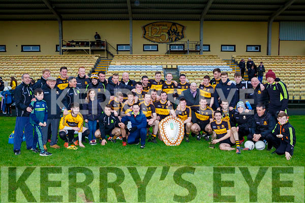 Dr Crokes team celebrated their victory over An Gaelteacht in the County League Div 1 final in Lewis Rd on Sunday