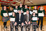 Academic Achievements Award Category winners Front L-R Alanna O'Sullivan, Con Moynihan (Principle), Jerome Griffin (Guest of honour), Aishling Murphy, Back L-R Jade O'Connor, Ciara Wakefield, Jerry Horgan, Jesse O'Connell, Sean Moore, Kelly O'Shea, Sinead Roche, Hugh Hurley at the Annual Awards night in the Killorglin Community College last Thursday night.