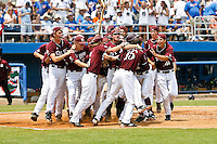 June 11, 2011:    Mississippi State Bulldogs celebrate and mob inf/of Nick Vickerson (21) after he hit a game winning home run in the bottom of the 9th inning during NCAA Gainesville Super Regional Game 2 action between Florida Gators and Mississippi State Bulldogs played at Alfred A. McKethan Stadium on the campus of Florida University in Gainesville, Florida.   Mississippi State defeated Florida 4-3.........