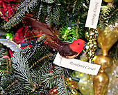 One of the past-years Christmas ornaments on a Christmas Tree in the Grand Foyer during the press preview of the 2012 White House Christmas decorations in Washington, DC on Wednesday, November 28, 2012.  These ornaments decorate four Christmas trees and they represent the legacies of former first ladies..Credit: Ron Sachs / CNP