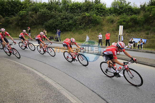 The peloton with Lotto-Soudal team on the front pass through Segre during Stage 3 of the 2016 Tour de France, running 223.5km from Granville to Angers, France . 4th July 2016.<br /> Picture: Eoin Clarke | Newsfile<br /> <br /> <br /> All photos usage must carry mandatory copyright credit (&copy; Newsfile | Eoin Clarke)