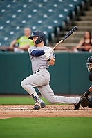 Trenton Thunder center fielder Trey Amburgey (14) follows through on a swing during the first game of a doubleheader against the Bowie Baysox on June 13, 2018 at Prince George's Stadium in Bowie, Maryland.  Trenton defeated Bowie 4-3.  (Mike Janes/Four Seam Images)